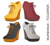 modern female ankle boots... | Shutterstock .eps vector #711165424