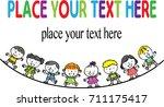 cartoon kids with border | Shutterstock .eps vector #711175417