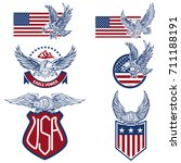 vector set of the usa labels