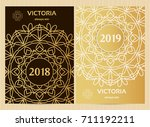 a4 format cards decorated with... | Shutterstock .eps vector #711192211