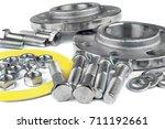 flange screws and nuts | Shutterstock . vector #711192661