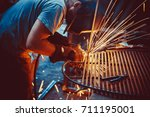 welding work. erecting... | Shutterstock . vector #711195001
