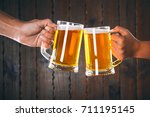 two friends toasting with... | Shutterstock . vector #711195145