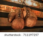 Boxing Gloves On The Wall. Old...