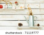 Plants On White Rough Wooden...
