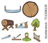 sawmil and timber set icons in... | Shutterstock .eps vector #711208135
