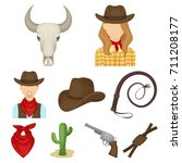 a set of pictures about cowboys....   Shutterstock .eps vector #711208177