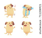 vector set of cute labrador dog ... | Shutterstock .eps vector #711208921