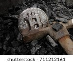 bitcoin mining. a mine with... | Shutterstock . vector #711212161
