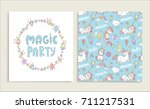 cards for magic party . vector... | Shutterstock .eps vector #711217531
