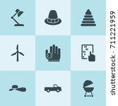 set of 9 vintage filled icons... | Shutterstock .eps vector #711221959