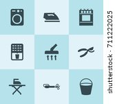 set of 9 appliance filled icons ... | Shutterstock .eps vector #711222025