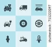 set of 9 automobile filled... | Shutterstock .eps vector #711222097