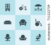 set of 9 seat filled icons such ... | Shutterstock .eps vector #711222739