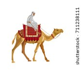 Arab Man Riding A Camel. Vecto...