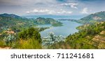 panoramic top view of lake kivu ... | Shutterstock . vector #711241681