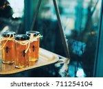 honey jars labels bee on... | Shutterstock . vector #711254104