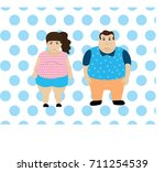 obesity or overweight couple... | Shutterstock .eps vector #711254539