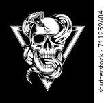 skull with snake vector... | Shutterstock .eps vector #711259684