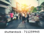 blur of people and tourists... | Shutterstock . vector #711259945