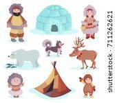 people in traditional eskimos...