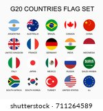 set flat colorful circle flags... | Shutterstock . vector #711264589