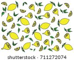 pattern hand draw yellow green... | Shutterstock .eps vector #711272074
