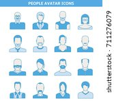 people avatar icons set blue... | Shutterstock .eps vector #711276079