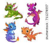 Stock vector little dragons set funny fantasy characters isolated on white background vector cartoon 711278557