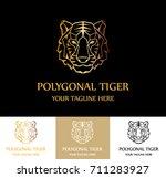 polygonal tiger brand real...   Shutterstock .eps vector #711283927