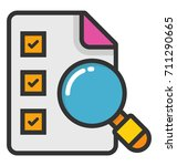 checklist with magnifier vector ... | Shutterstock .eps vector #711290665