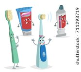 cartoon dental care characters... | Shutterstock .eps vector #711293719