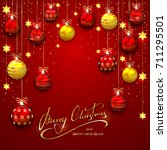 red background with christmas... | Shutterstock . vector #711295501