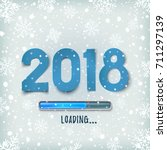 happy new year 2018 loading bar ... | Shutterstock .eps vector #711297139