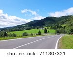 mountain landscape with road ... | Shutterstock . vector #711307321