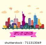 new york city skyline | Shutterstock . vector #711313069