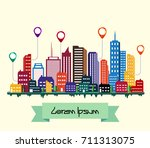 colorful building and city... | Shutterstock . vector #711313075