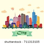 colorful building and city... | Shutterstock . vector #711313105