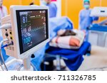 ekg monitor at icu  in hospital ... | Shutterstock . vector #711326785