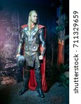 Small photo of Amsterdam, Netherlands - September 05, 2017: Chris Hemsworth as Thor, Marvel section, Madame Tussauds wax museum in Amsterdam