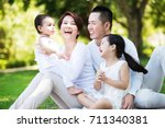 young happy asian family... | Shutterstock . vector #711340381