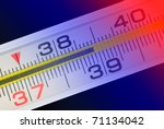 Thermometer (shows high temperature). Art illumination. - stock photo