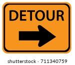detour right road sign   Shutterstock .eps vector #711340759