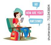 teen girl vector. happy girl... | Shutterstock .eps vector #711343804