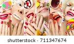 fashion summer spring... | Shutterstock . vector #711347674