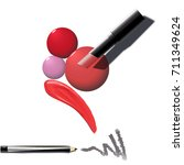 makeup set of cosmetics. red... | Shutterstock .eps vector #711349624