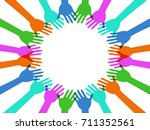 colorful hands around with copy ... | Shutterstock .eps vector #711352561