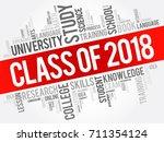 class of 2018 word cloud... | Shutterstock .eps vector #711354124