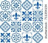 portuguese vector tiles pattern ... | Shutterstock .eps vector #711354154