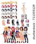 dresses and hairstyles game.... | Shutterstock .eps vector #711355129